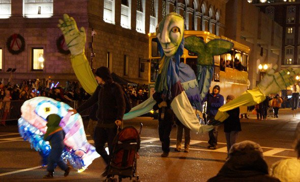 First Night parade down Boylston Street in Copley Square