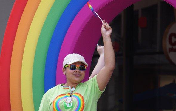 Woman at annual Pride parade in Boston