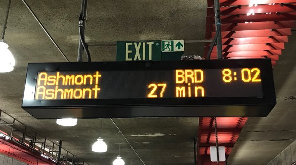 Signboard shows next Red Line train in 27 minutes at rush hour
