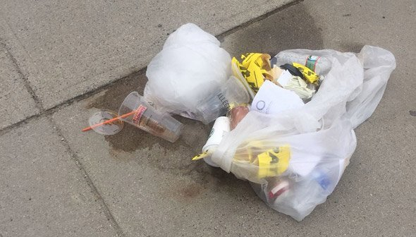 Trash left behind by the media in South Boston
