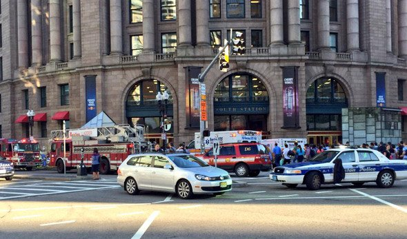 The scene at South Station