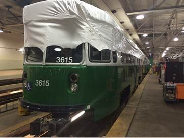 Rebuilt Green Line trolley