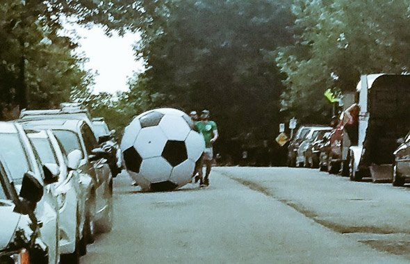 Big soccer ball in the South End