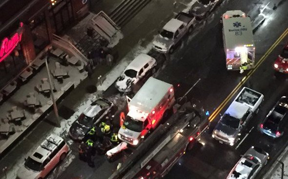 Crash on Boylston Street in front of Jerry Remy's