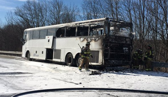 Burned bus on the Massachusetts Turnpike