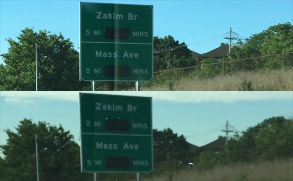 Sign on I-93 changed to reflect actual distance to Mass Ave and Zakim Bridge