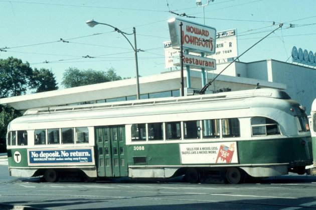 Trolley in front of the old Circle Cinema in Cleveland Circle