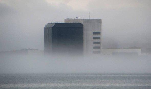 JFK Library in the fog on Dorchester Bay