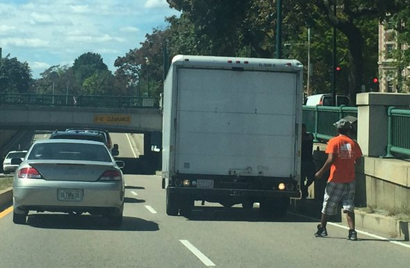 Truck Backing Up On Memorial Drive In Cambridge