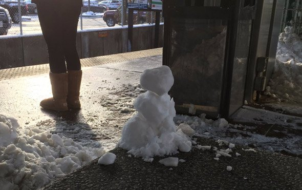 Snowman at North Quincy