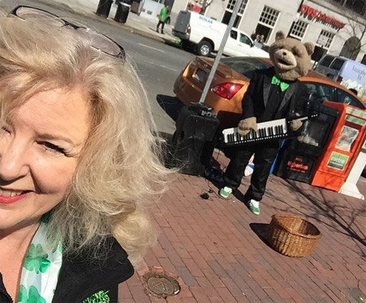 Keytar Bear on St. Patrick's Day in Copley Square in the Back Bay