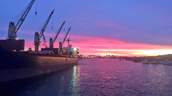 Dawn over Boston Harbor and Chelsea Creek