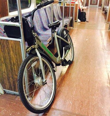 Hubway bike on the Orange Line