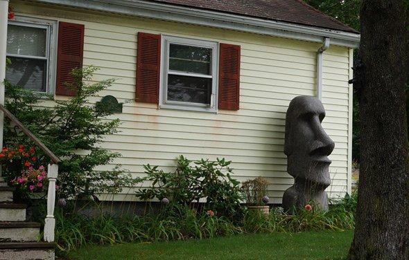Easter Island head in West Roxbury