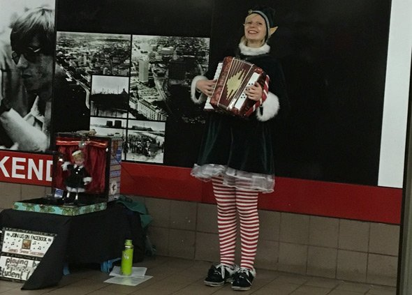 Elf at Kendall Red Line station