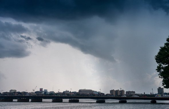 Rainstorm over the Harvard Bridge and the Charles River