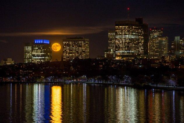 Supermoon over Boston