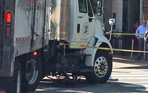 Bicycle and truck crash in Cambridge