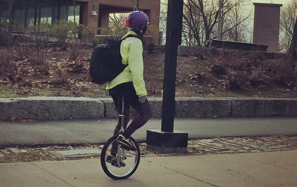 Unicyclist in Jamaica Plain