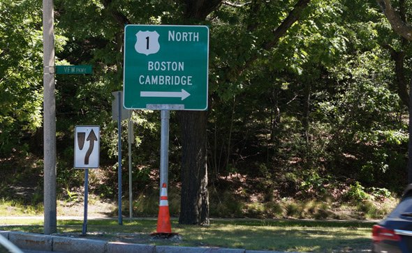 Rte. 1 sign on VFW Parkway