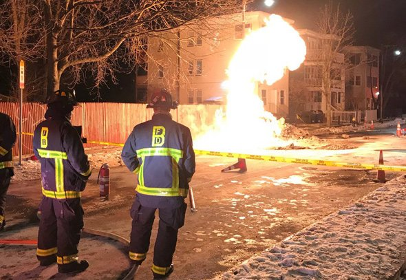 Flaming gas main on Hyde Park Avenue