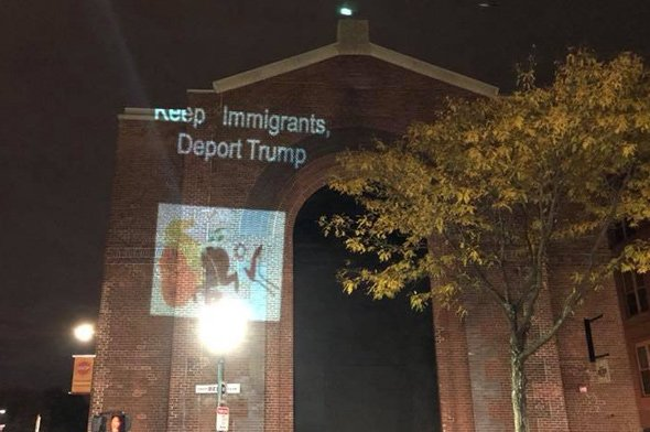 Projecting a pro-immigrant, anti-Trump message on the Roslindale substation