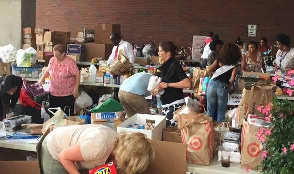 Packing donations for Houston