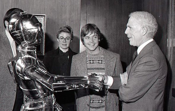 Mayor White with Luke and C3-PO in Boston City Hall