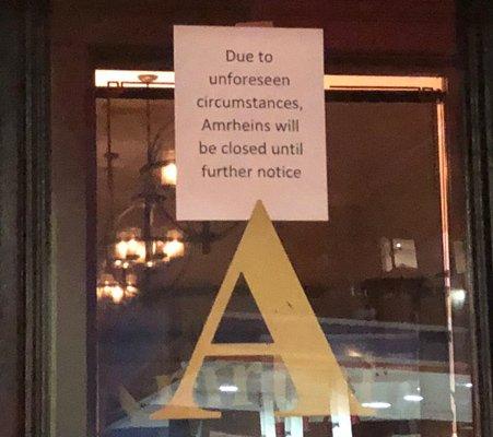 Amrheins closing sign