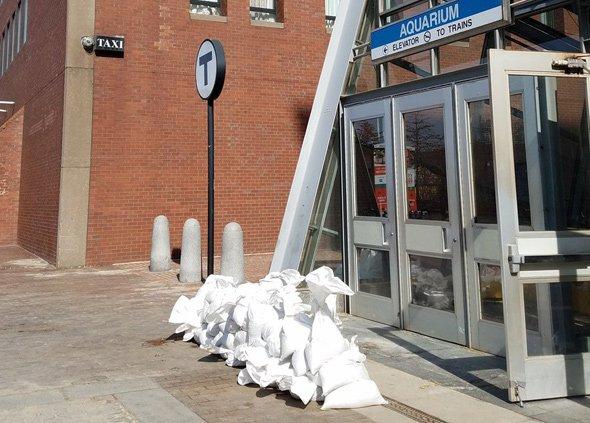 Sandbags at Aquarium Blue Line stop