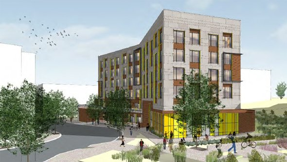 Architect's rendering of senior-citizen building in Roxbury