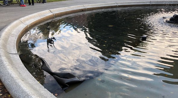 Black plastic left behind in Blackstone Square fountain