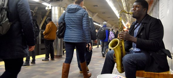 Musician at a T stop in Boston