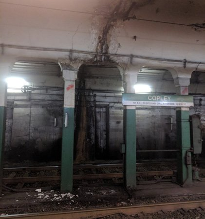 Crumbling Green Line station at Copley Square in the Back Bay