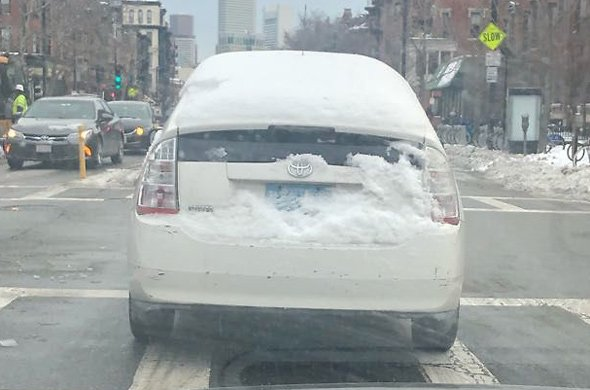 Prius covered in ice