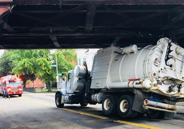 Storrowed truck on Adams Street in Dorchester