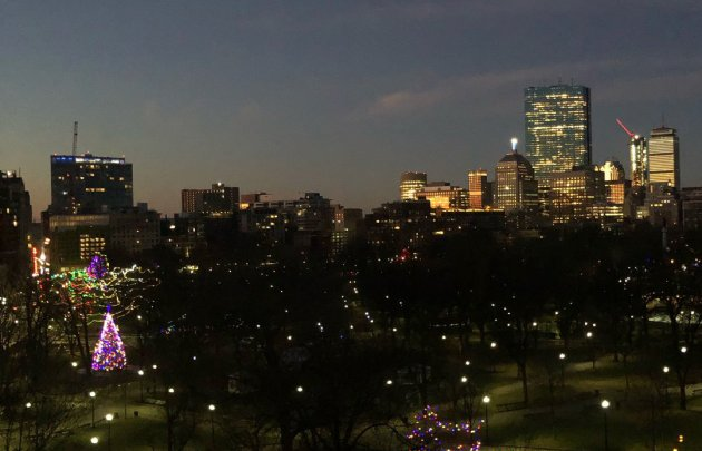 Boston Common Christmas tree and the towers of Back Bay