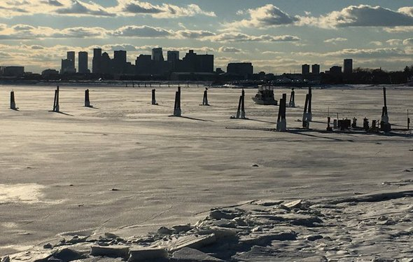 Icy Boston Harbor off East Boston