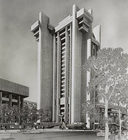 Brutalist tower