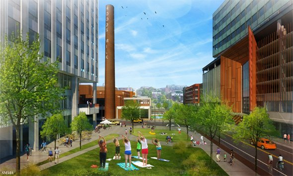 Proposed Hood Park project: Now with women doing exercise - and birds