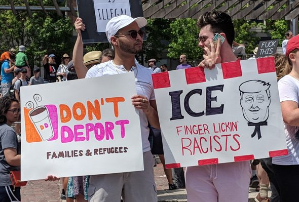 Protesting immigration policies at City Hall Plaza in Boston