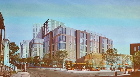 Architect's rendering of proposed Linden Street building
