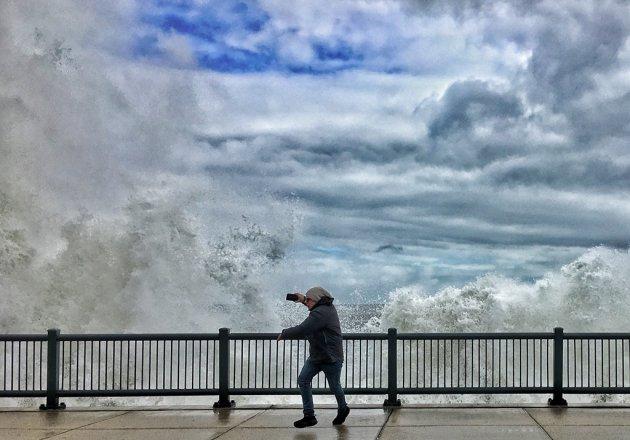 Woman shoots waves on Lynn Shore Drive