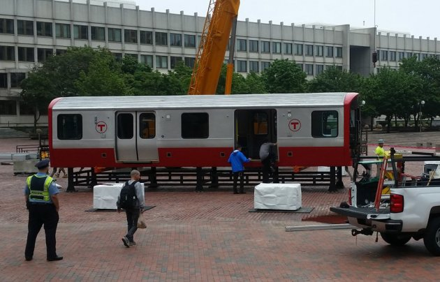 Test Red Line car on City Hall Plaza