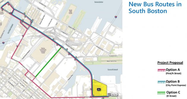 Three possible new bus routes from City Point to downtown.