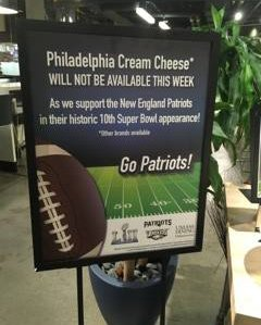 No Philly cream cheese at UMass Amherst until after the Super Bowl