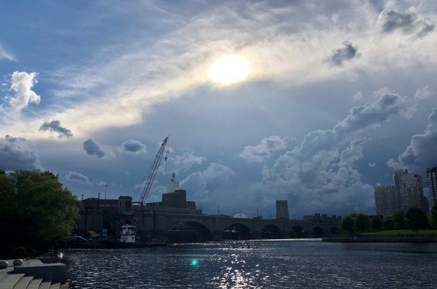 Ominous skies over the Charles