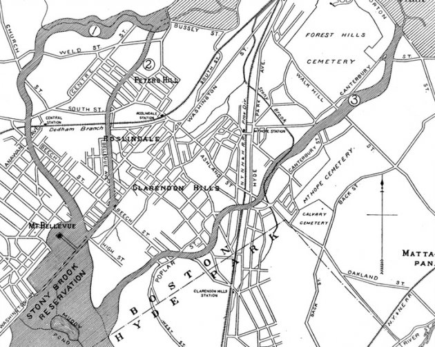 Proposed routes of West Roxbury Parkway in 1894