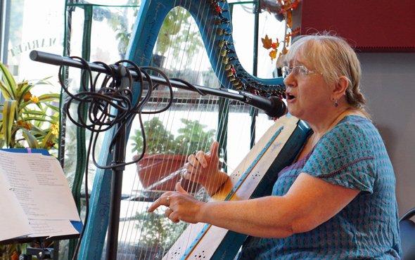 Harpist at Tony's Market in Roslindale