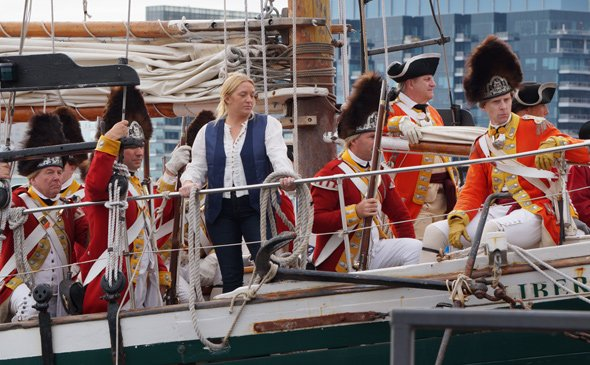 Redcoats on a ship in Boston Harbor